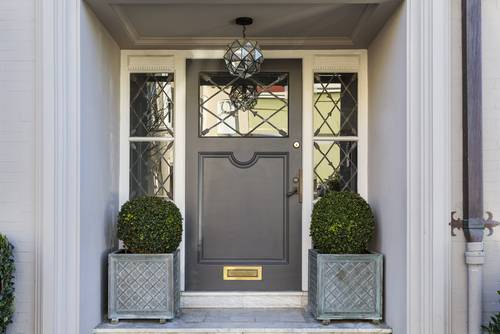 modern grey front door with plant pots either side of door